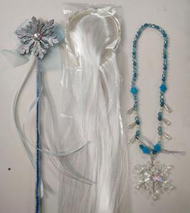 Nueva Snow Queen Dress II para chicas copo de nieve copo de nieve colgantes de los collares + arco + palillos blanco pelucas 3pcs / set Niños Cosplay Accesorios M921