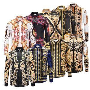 جديد كلاسيكي خريف شتاء المتناثرة ميدوسا سلسلة ذهبية / الكلب روز طباعة الرجال القمصان الأزياء الرجعية الأزهار سترة الرجال طويلة الأكمام قمم القمصان