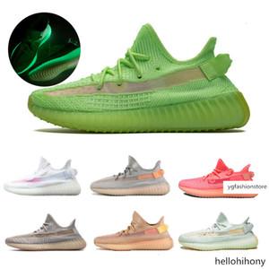 des Lundmark Rose GID Chaussures Phosphorescent Noir Clay statique Chaussures de course Femmes Formateurs Kanye West 350 V2 Sneakers