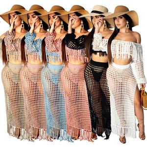 여자 여름 술 비치 드레스 섹시한 중공 아웃 두 조각 세트는 넥 긴 소매 높은 분할 롱 드레스 탑 슬래시