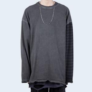 Autumn Striped Sleeve Distressed T-Shirt-Kleid-Wäsche Ripped Cotton Tee Korean Fashion Street