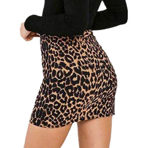Womens Leopard Printed Short Skirt High Waist Pencil Bodycon Mini Skirt