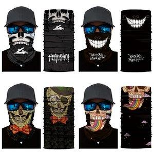 Designer Printed Women Silk Magic Skull Scarf Face Mask 14 Styles Chiffon Handkerchief Outdoor Windproof Half Face Dust-Proof Sunshade Ma#465