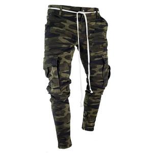 Moda-Mens Camuflagem Designer De Lápis Calça Jeans Moda Grandes Bolsos Listrado Com Zíper Projeto Magro Calças De Jean