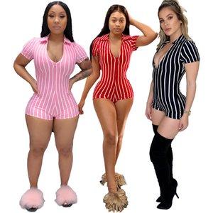 Kadınlar çizgili baskı bodysuit BODYCON tek parça pantolon 2409 kış giysileri sonbahar kısa kollu clubwear seksi v boyun tulum modasını tulum