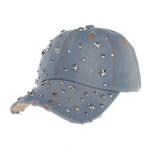 Moda Unisex Mujeres y Hombres Casual de Alta Calidad Remache Punky Hip-Hop Vaquero Gorra de Béisbol Ajustable Completo Retro Flat Snapback Hat