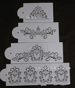 4 piezas Fondant Cake Stencil Mold Flower Emboss Hollow Pvc Decorativo Diy Moldes para hornear Border Side Decor Icing Sugarcraft 4jy E1