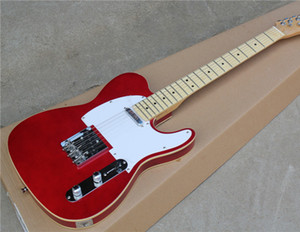 6-String Electric Guitar with Red Color,Maple Fingerboard,22 Frets,White Binding,String-thry-body Design and can be Customized