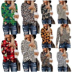 Leopard-Druck-Frauen-T-Shirt Herbst Pullover Langarm-O-Ansatz T-Shirt Fashion Design Sweatshirt beiläufige Bluse Mädchen Top Bekleidung 2XL Tops