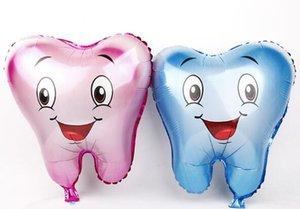 200pcs / lot großer Zahn geformten Folien-Ballone Rosa-Blau-Farbe Kind-reizende Luft aufblasbarer Ballon für Geburtstagsfeier-Dekoration