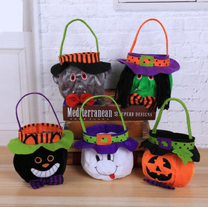 Halloween Pumpkin Bucket Cartoon Vampire Black Cat Ghost Witch Handbags Halloween Candy Bag Party Gift Candy Bags GGA2508