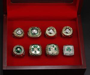 8pcs / set 1968 1969 1974 1976 1981 1984 1986 2008 Boston Basketbol Dünya Şampiyonası Yüzük Hayranları Souvenir Koleksiyon Festivali Parti Hediye