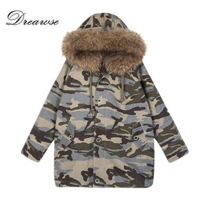 Dreawse Women Coat Plush Raccoon Collo di pelliccia Cappotto Abbigliamento in cotone Femminile Inverno Spessa Caldo Mujer Camouflage Allentato Parka MZ3227