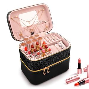 Новых Женщины Большого макияж сумка девушка Cosmetic Jewelry Случай кожа высокого качество Женского Make Up Box Мода Путешествие несессеры