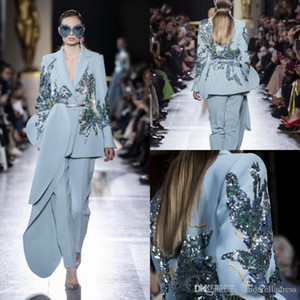 2020 Yeni Elie Saab Tulumlar Abiye Açık Mavi payetli Boncuk V Yaka Balo Modelleri Saten Uzun Kollu Parti Elbise