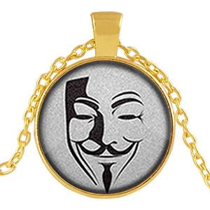 Nuovo V Vendetta mascherina della gemma Festival Collana Retro lega di zinco di faida pendenti di Halloween Uomo Donna Articoli da regalo HHA834