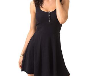 2020 مثير الأسود ملابس الصيف ضمادة الهيئة غير الرسمية البسيطة فستان صهريج عالية الخصر سليم الصلبة صالح مضيئة المتزلج عادية اللباس نادي سيدات