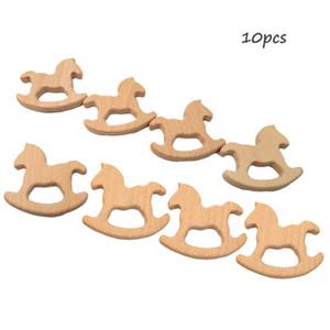 10pcs hölzernes Pferd Form Beißringe Natur-Baby-Dentitionspielzeug Bio-Holz Zahnen Halter Nursing Baby-Beißring Beruhigungssauger Baby Care