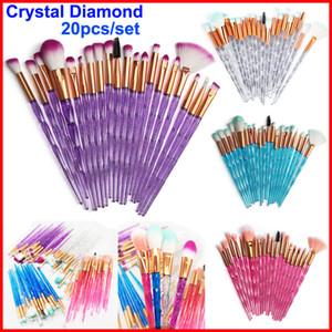 O grupo de escova alça Cosméticos Escovas Cristal Diamante Fundação Sombra escovas 20 pcs olhos e do rosto Escova Maange Brushes compo o jogo
