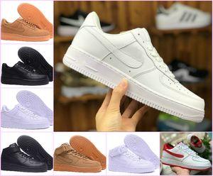 Designer 2019 Fuerzas mujeres de los hombres escotados One 1 zapatos Todos Blanco Negro Dunk zapatos deportivos clásicos 1s forzados AF mosca formadores de punto de alta zapatillas de deporte
