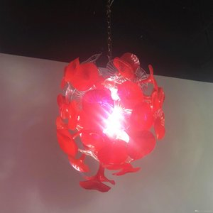Christmas Festival Decoration Red Hand Blown Glass Trumpet Chandelier Lighting Mouthblown China Murano Light Fixtures