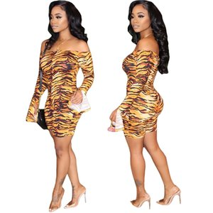 2020 new sexy leopard print jumpsuits word collar lotus leaf sleeve off-the-shoulder close-fitting jumpsuits