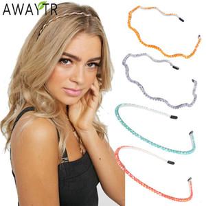 AWAYTR Wavy Hair Band Beaded Headband Hair Hoop for Women Solid Color Head Bezel Crystal Beads Hairband Headdress Accessories