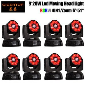 Gigertop 8 unités de Zoom Wash Led Moving Head Light RGBW 4in1 Led Washer Moving Head