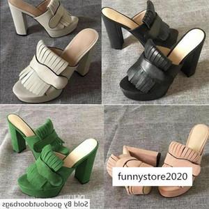 Women Platform Pump Mid-Heel Slide Designer Sandal 100% Real leather Fold Over Fringe Detail High Heel with Box Size 42