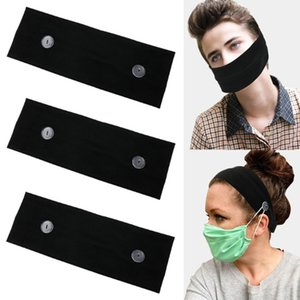 Mascarilla de Earloop hairband cara Máscara del oído hebilla elástico venda del oído de la cuerda de seguridad Titular de Deportes diadema con pañuelos Botón KJJ364