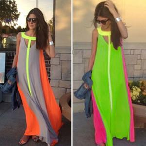 Fashion New Bright Color Patchwork Casual Dresses senza maniche Sundoress Abito lungo Abito lungo Abito economico Estate Boho Maxi Abiti