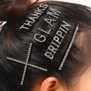 Bling Bling Clip Carta Rhinestone de la horquilla del pelo del envío muchachas de las mujeres Carta Barrettes calidad al por mayor de alta Epacket