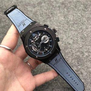 새로운 유행 남자 호화스러운 시계 가죽 결박 다기능 크로노그래프 스포츠 석영 시계