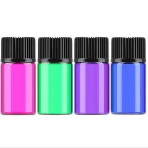 Fast Delivery 1ml 2ml 3ml 5ml colorful Glass Vial bottle cosmetic serum essential oil bottles With Orifice Reducer & Black Cap