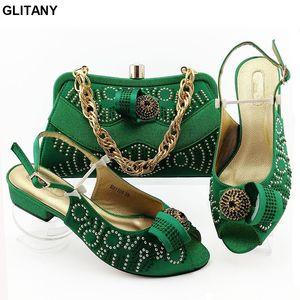 Italian Shoes and Bags zapatos a juego Set Rhinestone boda boda africana de calzado italiano y sistemas del bolso del zapato