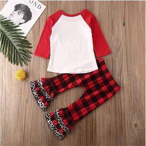 Enfants Charistmas Pyjama Survêtement Bébés filles Arbre de Noël T-shirt à carreaux Leopard patchwork Pantalons 2 Piece Tenues manches Corne shirt Ensembles A110603
