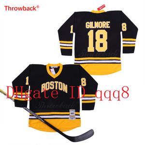 Урожай Бостон Брюинз 18 Счастливчик Гилмор Джерси Черный Белый прошитой фильм Хоккей Джерси