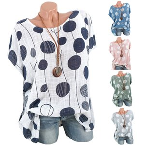 Aesthetic Korean Clothes Plus Size 여성 캐주얼 도트 프린트 반소매 셔츠 탑 셔츠 티셔츠 Femme 섹시한 탑 캐주얼 루즈