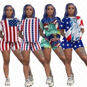2020 American National Bayrağı Baskılı Kadınlar Eşofman Kısa Kollu Üst Tees ve Şort İki parça Spor Suit Marka Casual Giyim D61906