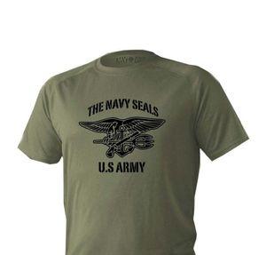 2020 Moda Sıcak Tişörtlü Mens Kuru Fit Kısa Kollu Yeşil Zeytin Us Army Amerika Navy Seals Tee gömlek