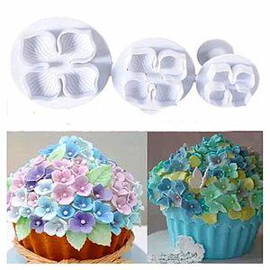 3 Unids / set Silicona Hydrangea Fondant Cake Decorating SugarCraft Cookies Émbolo Cortador Flor Flor Molde Herramientas para pasteles