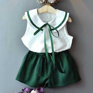 Girls Sets 2020 Summer New Children's Clothing Girls Super-Yang Cute Bow Doll Collar Chiffon Shirt + Loose Lace Shorts Suit