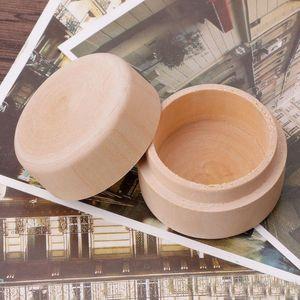 Pequeño anillo de caja de almacenamiento de madera redondo Can Vintage Decorativo Artesanía Natural Joyas Jarra Frasco Accesorios de boda