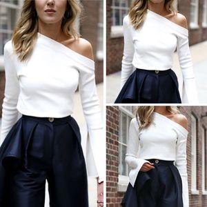 Recentemente Moda Mulheres camisa de manga longa de Slash Neck Alças Branco Magro camisola de malha Tops T Shirt