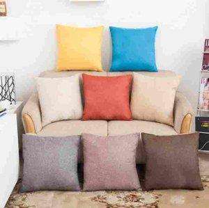 Vintage Plain Kissenbezug Dekorative Baumwolle Leinen Dekokissen Gehäuse Home Bequeme Solid Color Pillowcase