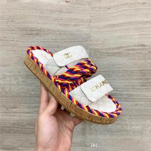 Ciabatte con ciabattine Pantofole piatte da donna, Pantofole multicolor Flip Flop Fashion Outdoor Scuff Pantofole bianche
