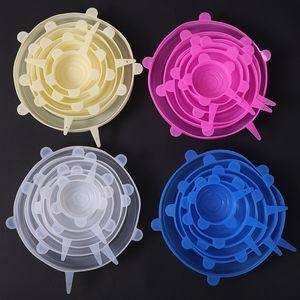 실리콘 식품 랩의 6PCS / 설정 재사용 가능한 식품 신선한 저장 커버 뻗어 내구성 볼 플레이트 뚜껑 주방 스토리지 T2I51050
