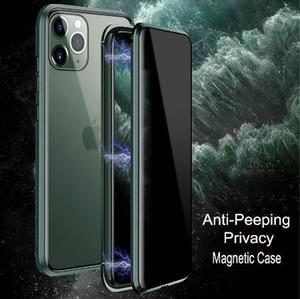Pour iPhone 11 Pro Max cas de luxe magnétique anti Peeping avant arrière en verre trempé 360 Aimant Antispy Housse de protection Coque