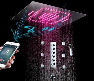고급 욕실 샤워 패널 (5) 기능 LED 샤워 꼭지 세트 비, 안개, 폭포, 온도 조절 고 유량 분배기 밸브 (6 개)의 몸 제트기