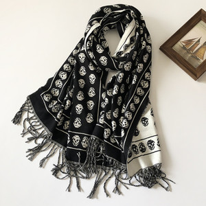Scarf for Women Luxury Designer 100% Cotton Skull Print Fringe-Edge Scarves Womens and Mens Long Wraps Size 200X70cm without Box